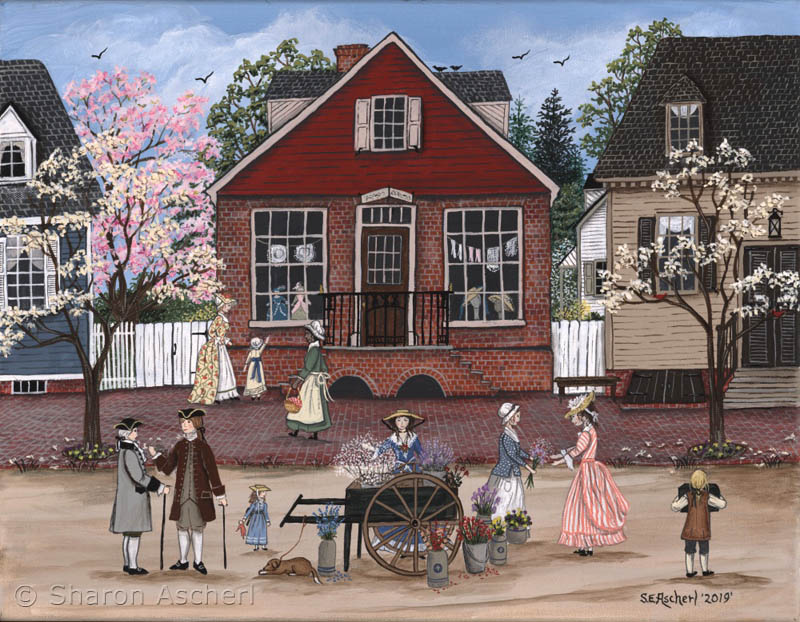 Margaret Hunter's Millinery Shop, Williamsburg Virginia painting by Maryland Folk Art Artist Sharon Ascherl